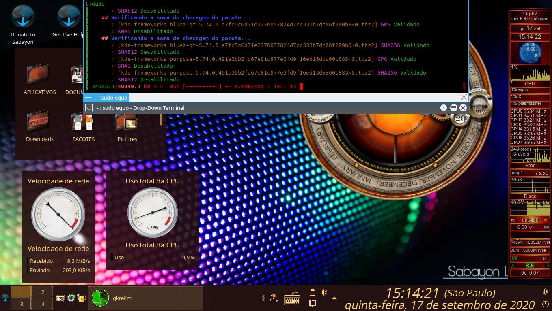 Atualizando o Sabayon Linux, Com Comandos (equo up && equo u -av) e usando Terminal Suspenso Para KDE, Yakuake.