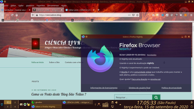 Navegador de Internet, Mozilla Firefox, Versão Experimental Nightly, 82 Alfa 1, 64 Bits, em Português do Brasil.