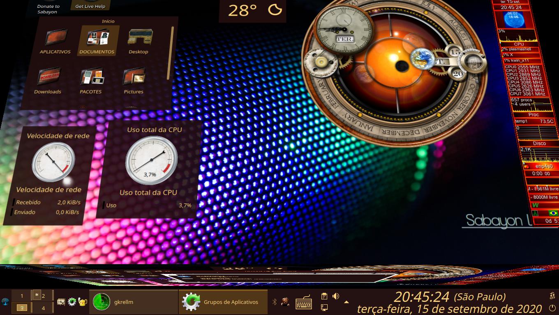 Sabayon Linux 20.10, KDE 5. Efeito de Kwin, Movendo o Cubo.