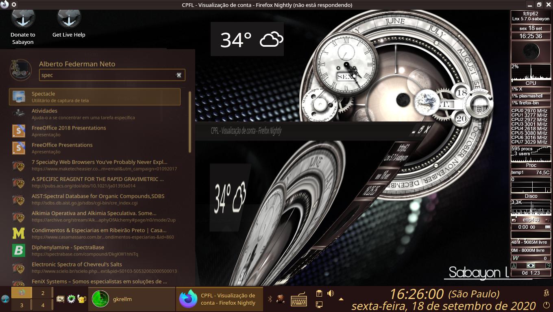 Mais Efeitos 3D, de Kwin, em KDE 5, do Sabayon Linux. Deformação e Descoloração de Janelas.