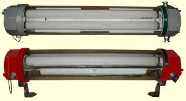 Antigas Luminárias de Emergência Blindadas, com Lâmpada Fluorescente.