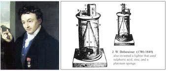 """O Químico Alemão Johann Wolfgang Döbereiner , Inventor do Primeiro Tipo de Isqueiro, a """"Lâmpada de Dobereiner""""."""