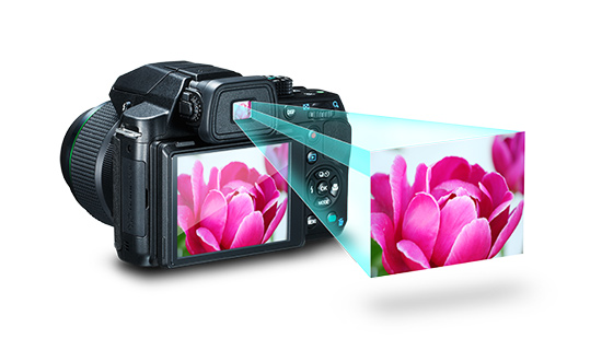 Imagem, Mostrando o Visor Ótico e Também, o Display LCD em Uma câmera Digital.