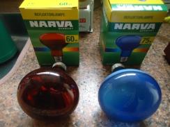 As Duas Lâmpadas Incandescentes Refletoras Especiais, Marca NARVA.